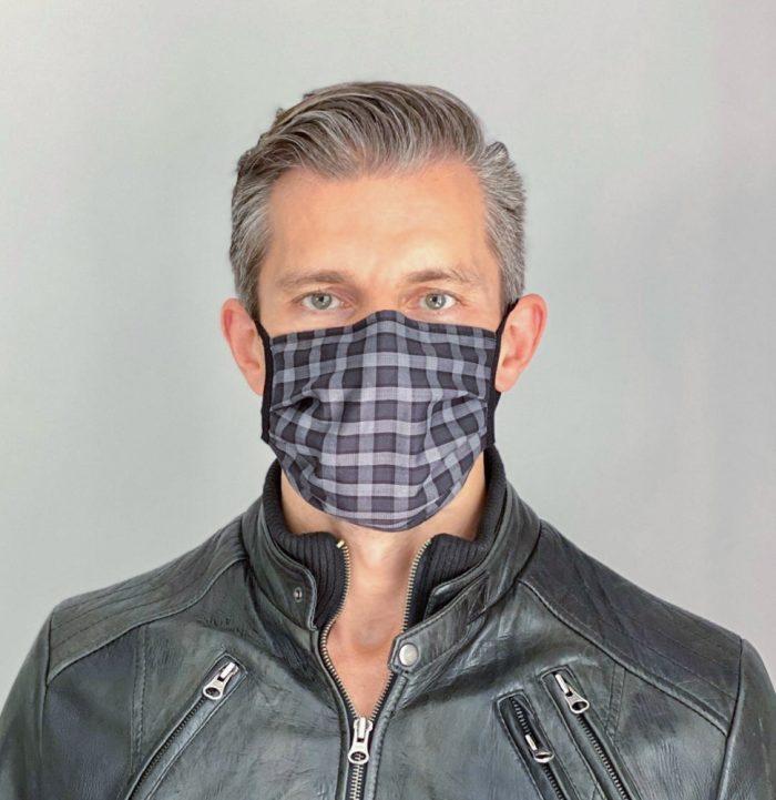 Mundschutz Maske Karo Schwarz für Männer