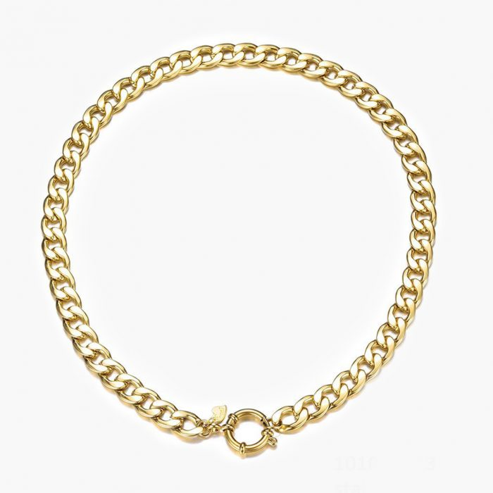 Markante Panzerkette mit Ring für Anhänger in gold